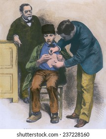 Rabies virus hydrophobia vaccination being given to teenage Jean-Baptiste Jupille at the Pasteur laboratory in October 1885 wood engraving with modern watercolor.