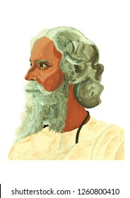 Rabindranath Tagore portrait illustration acrylic color painting on canvas