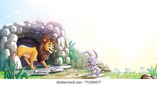 rabit and lion story illustration