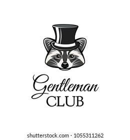 Raccon gentleman in top hat. Gentleman club text.  illustration. Cartoon Animal.