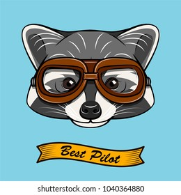 Raccoon Aviator. Raccon wearing in aviator's glasses. Riibbon. Best pilot lettering. Illustration isolated on blue background.