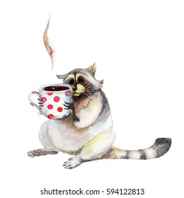 Raccoon with mug, animal character isolated on white background watercolor illustration.