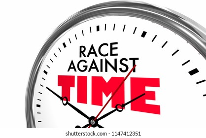 Race Against Time Compete Win Racing Clock Words 3d Illustration