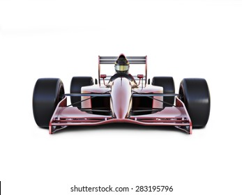 Race car front view on a white isolated background.