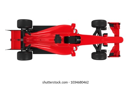 Race Car Isolated (top view). 3D rendering