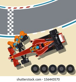 Race car in pit stop