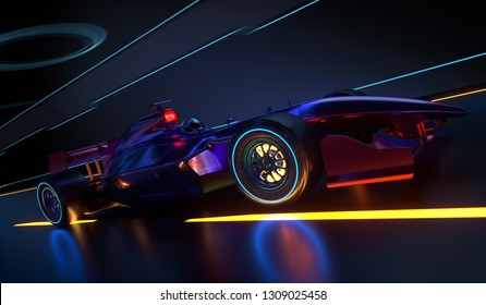 Race Car speeding along a futuristic tunnel. Race car with no brand name is designed and modelled by myself. 3D illustration