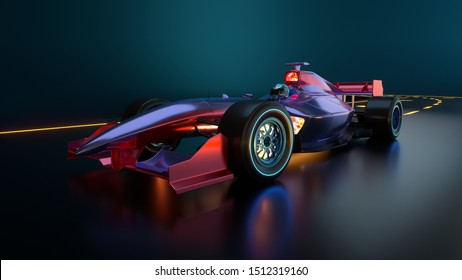 Race Car speeding along highway. Race car with no brand name is designed and modelled by myself. 3D illustration