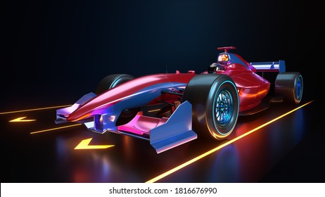 Race Car speeding along. The car with no brand name is designed and modelled by myself. 3D illustration