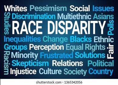 Race Disparity Word Cloud on Blue Background