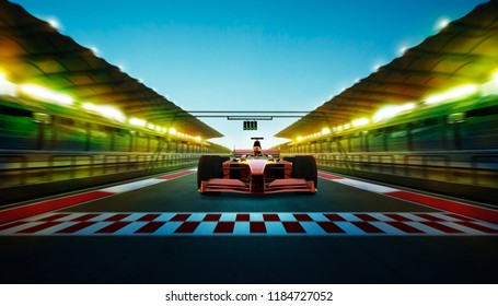 Race driver pass the finishing point at international race track with speedy motion blur effect . Night scene . 3D rendering