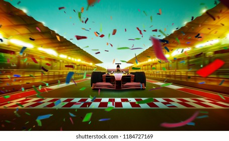 Race driver pass the finishing point at international race track with speedy motion blur effect .celebration with confetti . Night scene . 3D rendering