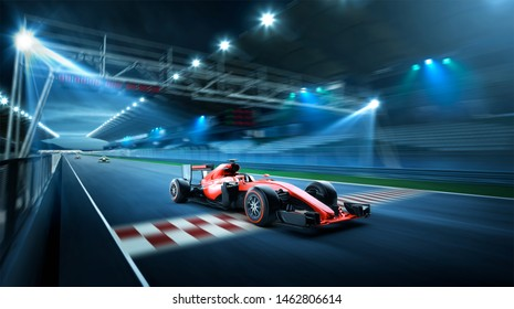 Race driver pass the finishing point and motion blur race track background. 3D rendering