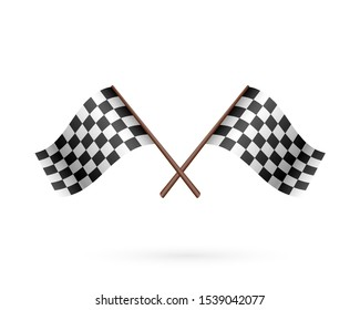 Race Flag Icon. Cartoon crossed flags symbol isolated on white
