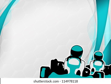Race poster: man and gokart background with space
