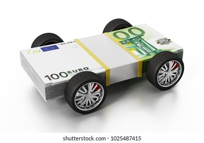 Race tyres connected to 100 Euro bills. 3D illustration.