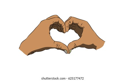 racemes of hands in form a heart