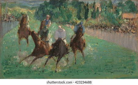 At the Races, by Edouard Manet, 1875, French painting, oil on wood panel. Painting depicts the racecourse with a cluster of onrushing horses and jockeys bearing directly down on the viewer. It is sim