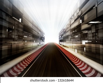 racetrack in glass business city background illustration