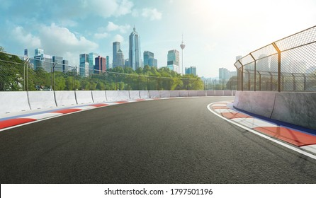 Racetrack with railing and city background, daytime scene. 3d rendering