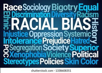 Racial Bias Word Cloud on Blue Background