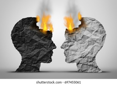 Racial relations challenge and social or society race tension as two black and white human heads facing each other in crisis as they both burn in a 3D illustration style.