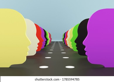 Racial tension and balance illustrated in a 3d image of many abstract faces of different colors. Symbolizing tolerance, equality, introspection, awareness, mutual support and understanding.