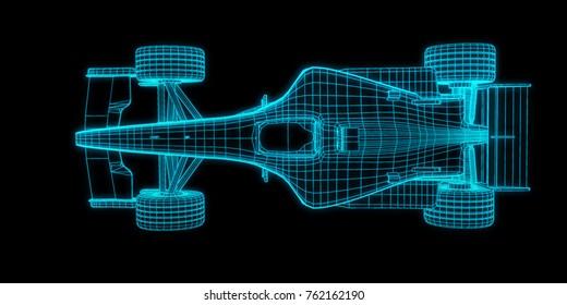 racing car 3d rendering