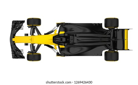 Racing Car Isolated (top view). 3D rendering