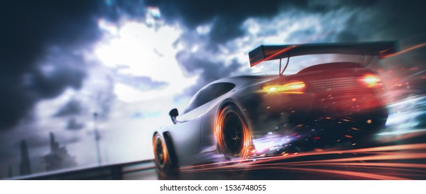 Racing Car scene - with motion blur and grunge overlay - rear taillights view - 3d illustration