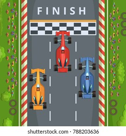 Racing cars on finish line. Top view racing illustrations. finish race track, result of tournament formula one