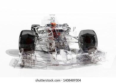 Racing cars on a white background. ,3d render