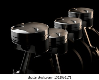 racing motor and mechanical engine parts like pistons- 3d rendering