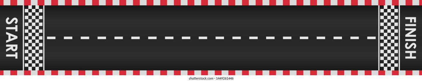 Racing road background with red checkered borders. Race track with start and finish line. Top view. Template design for karting, formula 1, nascar racing.