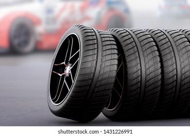 racing tires on asphalt - 3d rendering