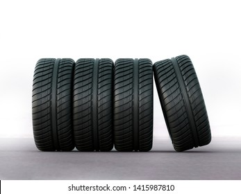 racing tires and wheels on the road - 3d rendering