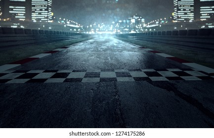 Racing track in the rain (3D Rendering)