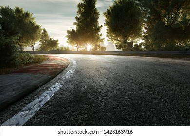Racing Track at Sunset (3D Rendering)