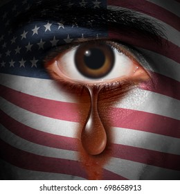 Racism in America and bigotry in the USA concept as the tear of an American minority washing away a flag of the United States painted on a face as a discrimination idea in a 3D illustration style.