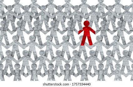 Racism symbol or individuality icon or a contagious and infectios person self isolating or social distancing issue in a crowd 3D illustration style.