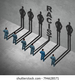 Racist person concept as a group of people with one individual casting text showing racial prejudice or discrimination by an employee in a 3D illustration style.