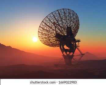 Radar on a background of the lanshafty.,3d render