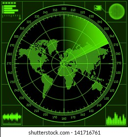 Radar screen with world map. Raster version of the illustration.