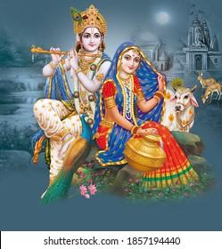 Radha Krishna, Lord Krishna, Radha Krishna Painting with colorful background