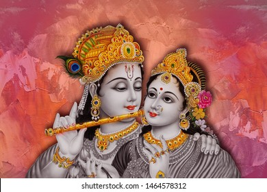 Radha Krishna Religious Painting for Photo Frame & wall Decor for Bed room wall paper