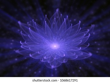 Radiant blue lotus with rays of light, Water Lily, enlightenment or meditation and universe, magic scene, abstract illustration