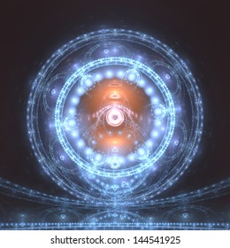 Radiant blue and orange orb - abstract fractal design