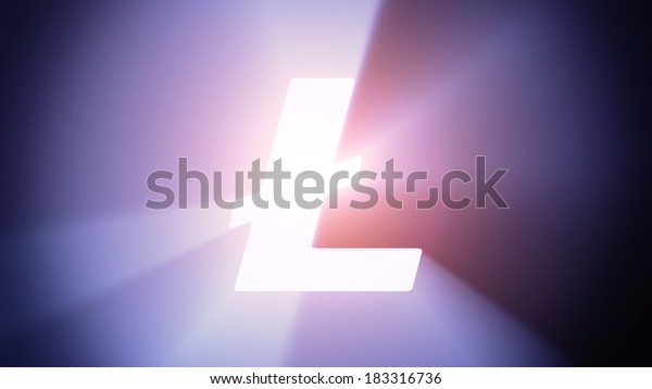 Radiant light from the symbol of litecoin