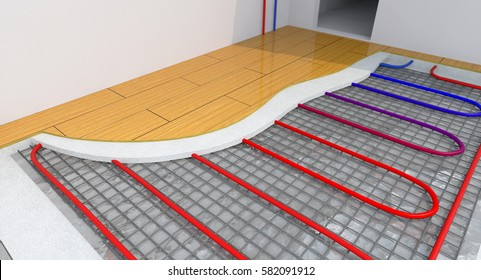 Radiant Underfloor Heating, Heating Systems, Warm floor, Under Floor Heating Systems, Renewable Energy Home Concept - 3D Rendering