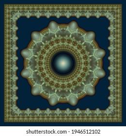 Radiating ornate fractal art printable decoration